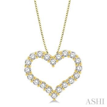 "14KY 1.0 ctw Diamond Heart Pendant 18"" Chain"