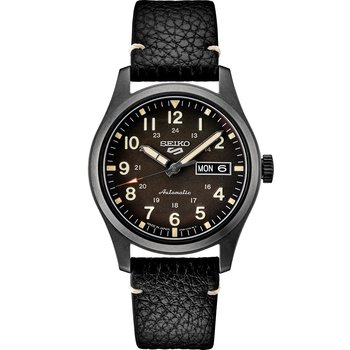 Stainless Steel Mens Watch w/ Black Leather Strap
