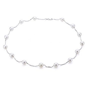 """14KW Freshwater Pearl Station Necklace, 17"""" Chain"""