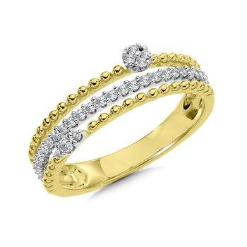 14KY & W 3 Band Diamond Fashion Ring w/ 0.19 ctw Size 7