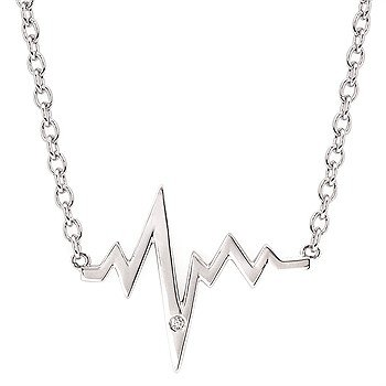 """Sterling Silver Diamond Heartbeat Necklace w/ 0.01ctw, 16-18"""" Chain"""