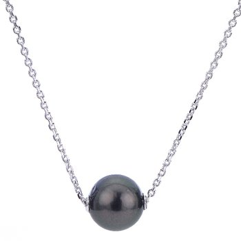 """Sterling Silver Tahitian Pearl Movable Necklace w/ 10 -- 11mm Pearl, 18"""" Chain +2"""" Extension"""