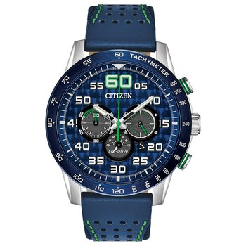 Stainless Steel Eco-Drive Primo Chronograph Watch w/ Blue Leather Straps