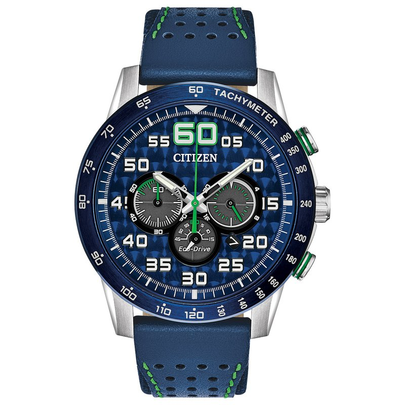Citizen Watches in Stock Stainless Steel Eco-Drive Primo Chronograph Watch w/ Blue Leather Straps