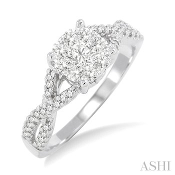 14KW Lovebright Diamond Engagement Ring with Twisted Band w/ 0.60 ctw, Size 6.75