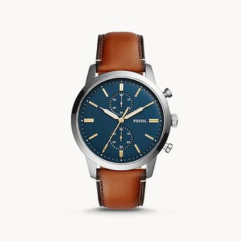 Stainless Steel Quartz Chronograph Watch w/ Brown Leather Straps and Blue Face