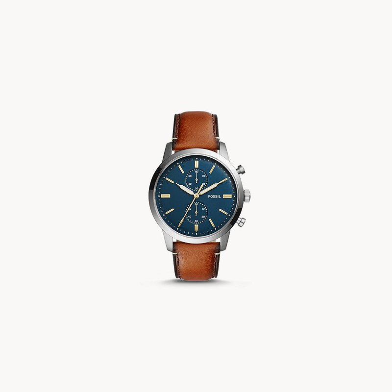 Fossil Stainless Steel Quartz Chronograph Watch w/ Brown Leather Straps and Blue Face