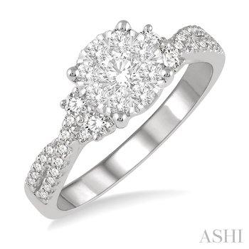 "14KW Round Diamond Cluster ""Lovebright"" Ring w/ 0.75ctw, Size 6.5"