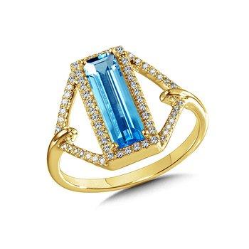14KY Diamond and Swiss Blue Topaz Ring w/ 0.16 ctw Dia. Size 7