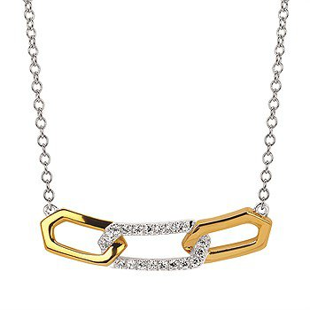 14K Two-Toned Link Necklace w/ 0.11 ctw