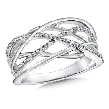 14KW Diamond Cross Over Fashion Ring w/ 0.18 ctw Size 7
