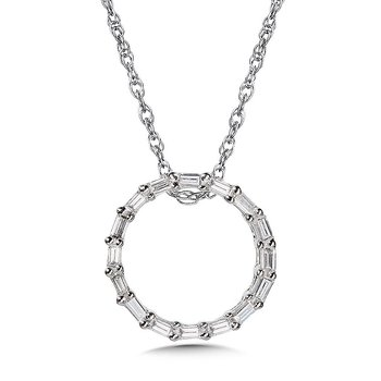 10KY Circle Baguette Diamond Pendant w/ 0.10 ctw and Chain