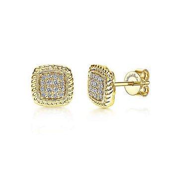 14KY Twisted Cluster Diamond Stud Earrings w/ 0.18 ctw