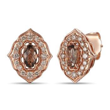 14 KRG Chocolate & Nude Diamond Earrings w/ 0.66 ctw