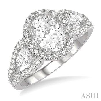 14K White Gold Oval Shape Semi-Mount Diamond Engagement Ring w/ 0.45 CTW, Size 6.75