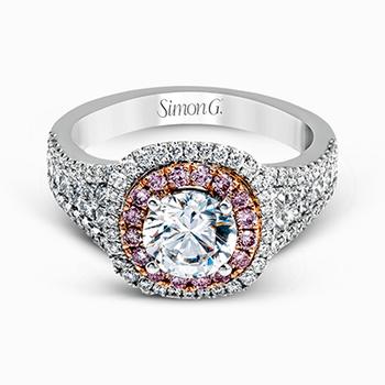 18K Two-Tone Diamond Engagement Semi-Mount Ring w/ 0.93 ctw, Size 6.75