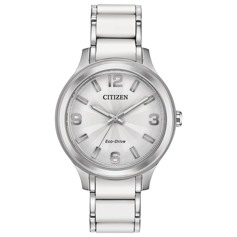 Citizen Watches in Stock Stainless Steel and White Silicone Citizen Eco-Drive Watch w/ Silver Face
