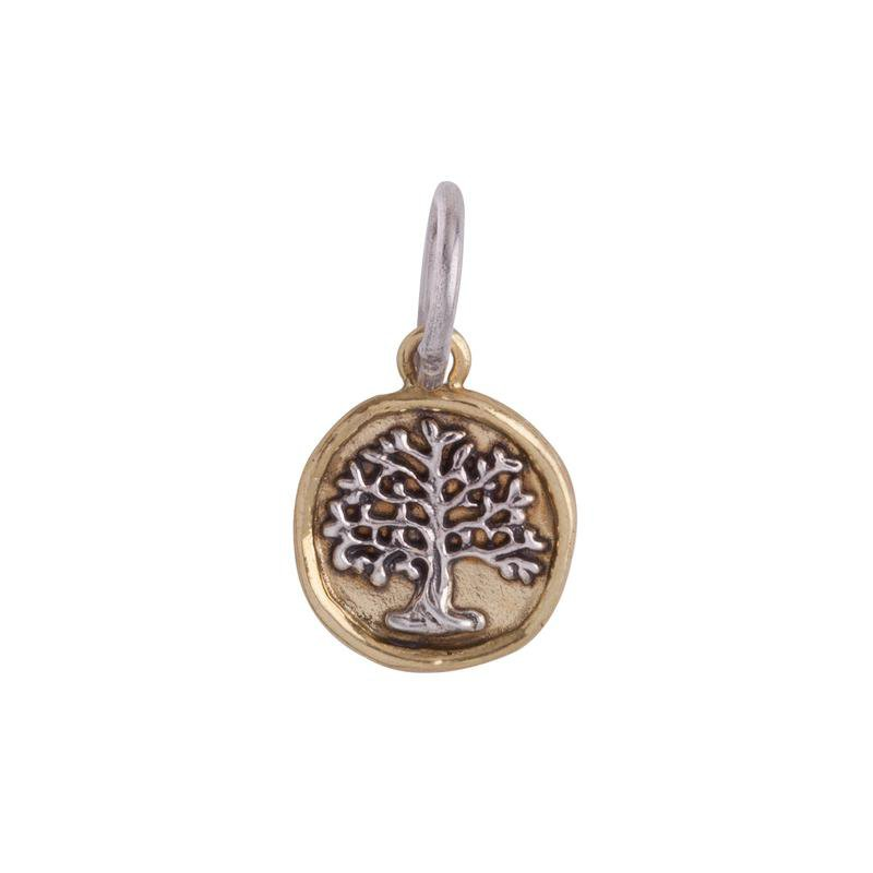 Waxing Poetic Sterling Silver & Brass Tree Of Life Charm