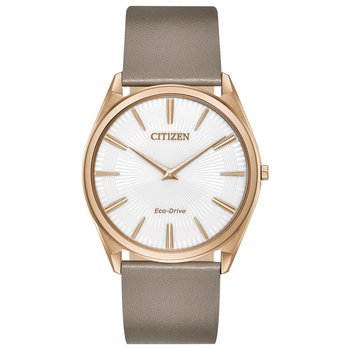 Stainless Steel Rose Tone Eco-Drive Watch w/ White Face and Leather Straps