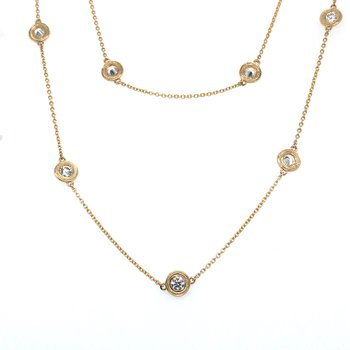 """14KY Diamond By The Yard Necklace w/ 1.04 ctw, 17"""" Chain"""