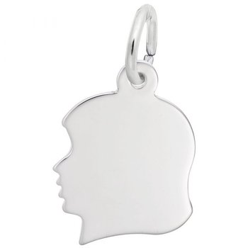 Sterling Silver Girl's Head Charm