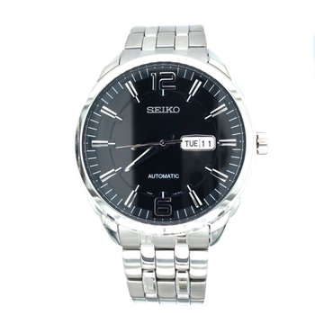 Stainless Steel Automatic Watch w/ Black Face, Day & Date Markers