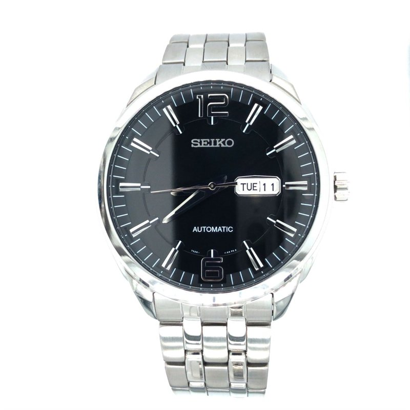 Seiko Watches In Stock Stainless Steel Automatic Watch w/ Black Face, Day & Date Markers
