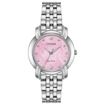 Stainless Steel Citizen Eco-Drive Watch w/ Pink Face