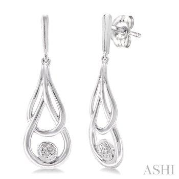 Sterling Silver Infinity Diamond Dangle Earrings w/ 0.03 ctw
