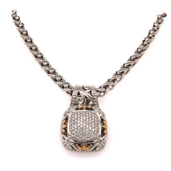 """Sterling Silver Diamond Pendant w/ 14KY Accents & 0.60 ctw, 18"""" Rope Chain"""