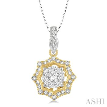 "14K Two Tone Diamond Pendant w/ 0.25 ctw 18"" Chain"