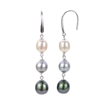 Sterling Silver Drop Multi-Colored Cultured Pearl Shepherd Hook Earrings
