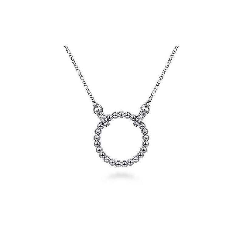 Gabriel & Co. Sterling Silver Open Circle Bujukan Pendant Necklace with White Sapphire 17.5