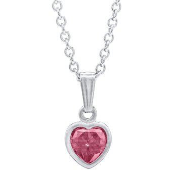 Sterling Silver October CZ Birthstone Heart Pendant w/ Chain