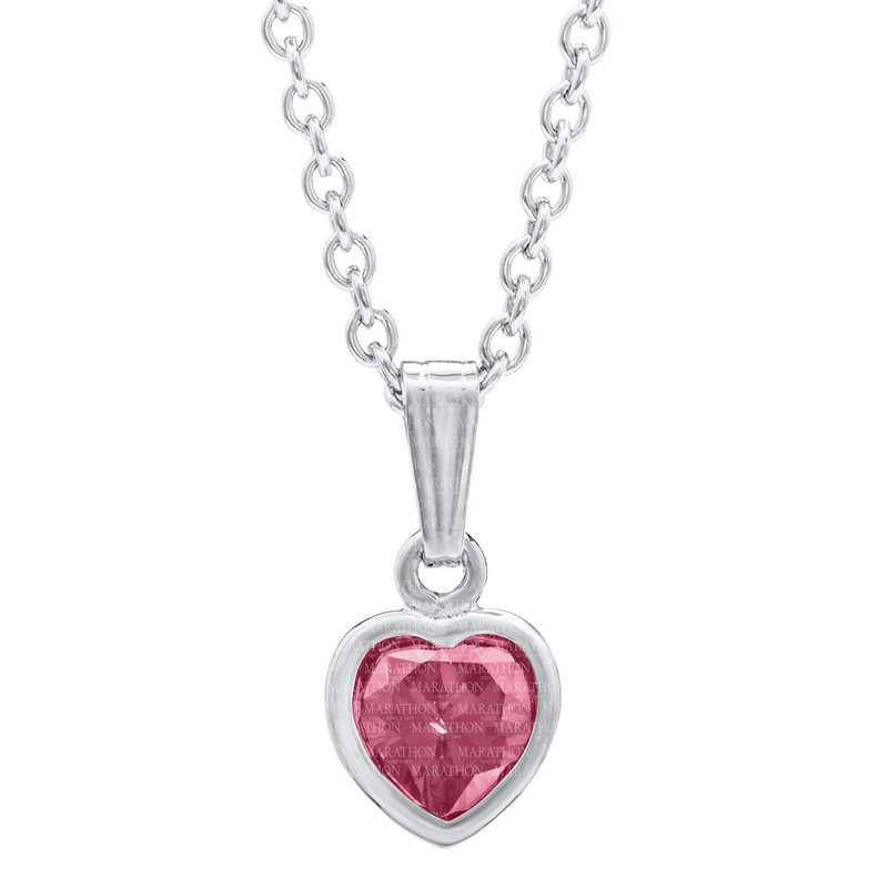 Green Brothers Collection Sterling Silver October CZ Birthstone Heart Pendant w/ Chain