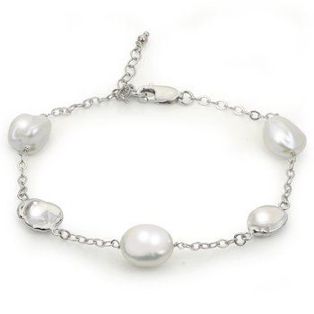 """Sterling Silver Fresh Water Cultured Keshi Pearl Charm Bracelet w/ 9 -- 10 mm Pearls, 7"""" Chains +Extension"""