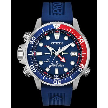 Stainless Steel Eco-Dive Watch w/ Blue Face and Blue Rubber Straps