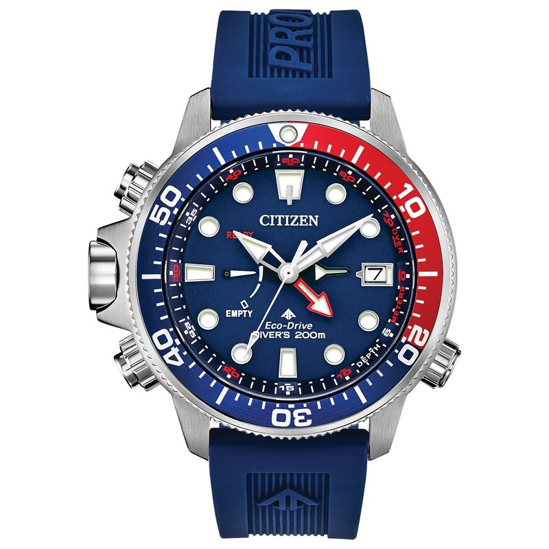 Citizen Watches in Stock Stainless Steel Eco-Dive Watch w/ Blue Face and Blue Rubber Straps