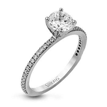 18KW Diamond Engagement Semi-Mount Ring w/ 0.14 ctw, Size 6.5