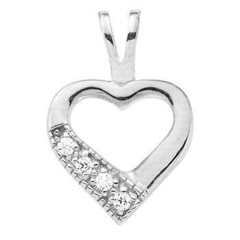 Sterling Silver Open Heart CZ Pendant