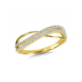 14KY Diamond Cross Over Ring w/ 0.16 ctw Size 7
