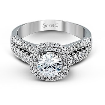18KW Engagement Double Halo Semi-Mount Ring w/ 0.51 ctw, Size 6.5