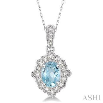 "10KW Aquamarine and Diamond Pendant w/ 6 x 4 Aqua. and 0.15 ctw Dia. 18"" Chain"