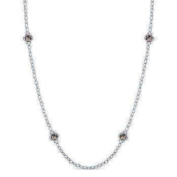 "Sterling Silver Smoky Quartz Fashion Necklace w/ 32"" Chain & Toggle Clasp"
