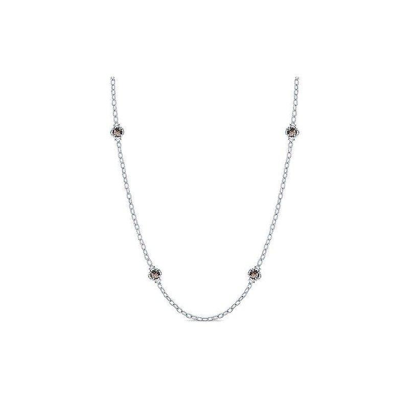 "Gabriel & Co. Sterling Silver Smoky Quartz Fashion Necklace w/ 32"" Chain & Toggle Clasp"