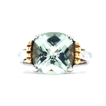 Sterling Silver Green Amethyst Ring w/ 18KY Accents, Size 7
