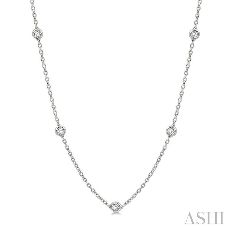 """Green Brothers Collection 14KW 18"""" Diamonds By The Yard Necklace w/ 1.00 ctw"""