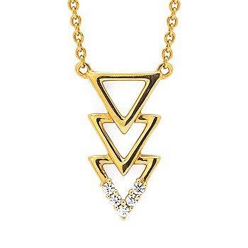14KW Three Triangle Diamond Necklace w/ 0.04 ctw