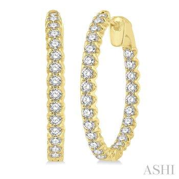 14KY Diamond Hoop Earrings w/ 2.0 ctw