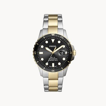 Sterling Silver Two-Tone Watch with Black face